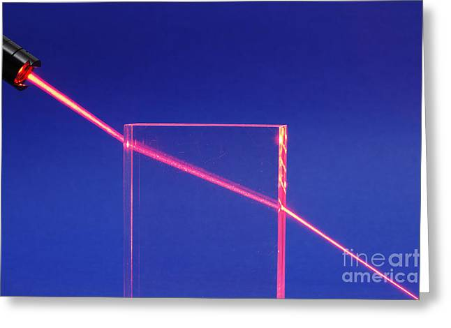 Geometric Effect Greeting Cards - Laser Beam Refracting Greeting Card by GIPhotoStock
