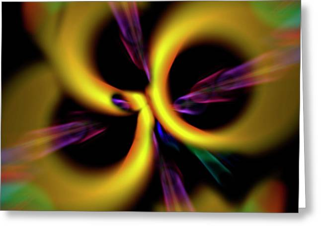Generate Life Greeting Cards - Laser Lights Abstract Greeting Card by Carolyn Marshall