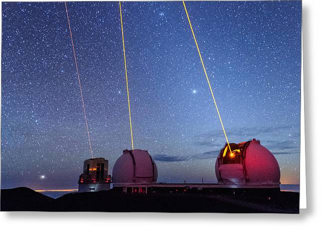 Blue Subaru Greeting Cards - Laser Party Over Mauna Kea 3 Greeting Card by Jason Chu