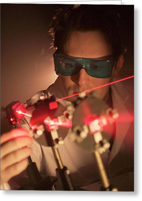 Laser Research Greeting Card by Crown Copyright/health & Safety Laboratory Science Photo Library