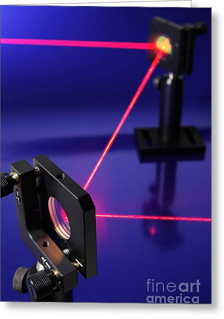 Laser Beam Greeting Cards - Laser Research Greeting Card by GIPhotostock