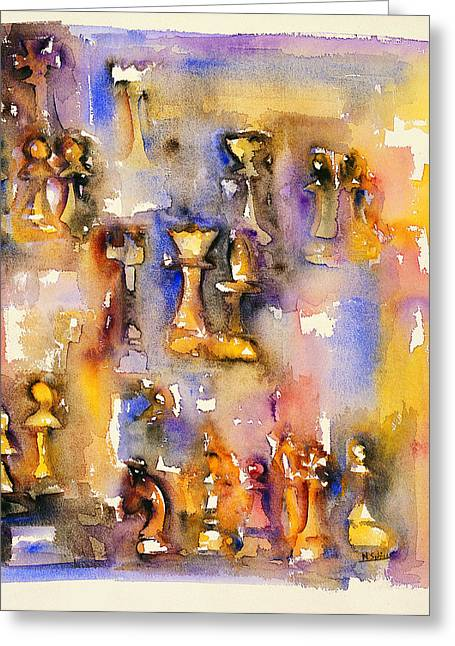 A Game Of Chess Greeting Cards - Lasker-Alekhine Greeting Card by Nicolas Sphicas