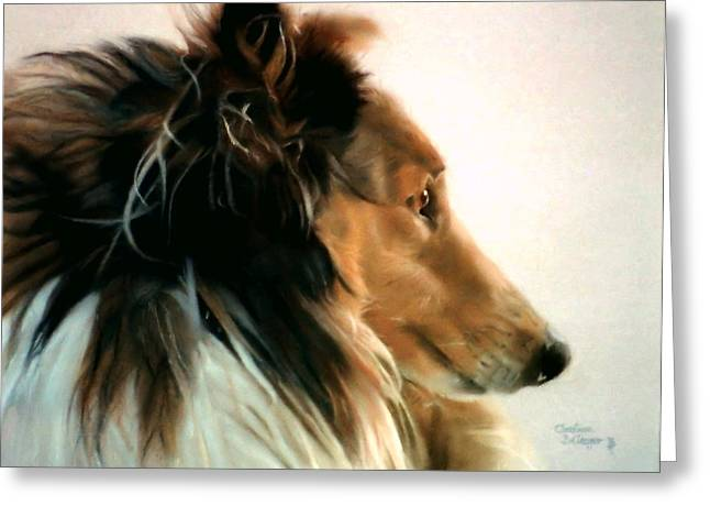 Collie Pastels Greeting Cards - Lassie of The Hill Greeting Card by Christine Belanger