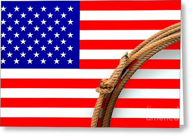 American Photographs Greeting Cards - Lasso and American Flag Greeting Card by Olivier Le Queinec