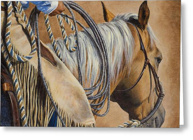 Chaps Greeting Cards - Lasso and Leather Greeting Card by Kim Lockman