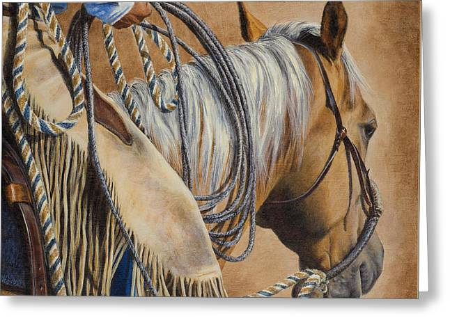 Lariat And Leather Greeting Card by Kim Lockman