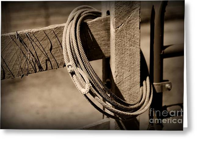 Old Fence Posts Greeting Cards - Lasso on Fence Post Rustic Greeting Card by Paul Ward