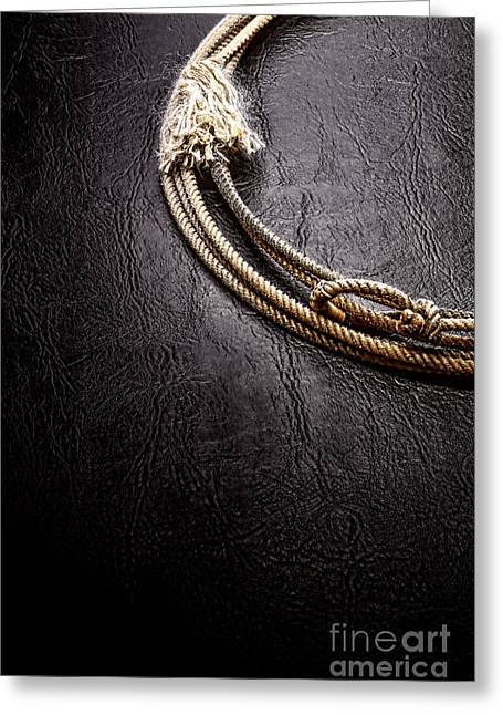 Rodeo Greeting Cards - Lasso on Leather Greeting Card by Olivier Le Queinec