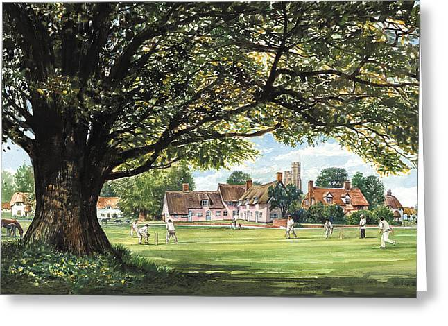Crisp Greeting Cards - Last Ball Before Tea Greeting Card by Steve Crisp