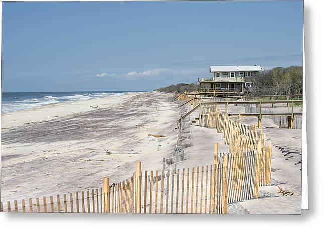 Sand Dune Greeting Cards - Last Beach House Greeting Card by Alida Thorpe