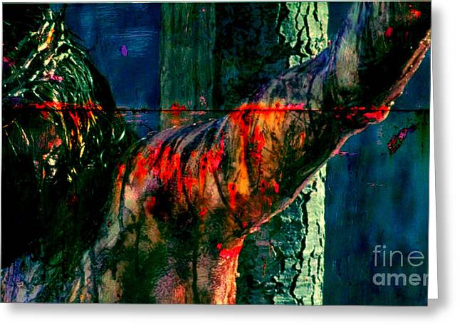 Blood Of Christ Greeting Cards - Last Breath of Jesus Greeting Card by Mike Grubb