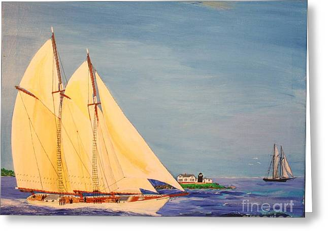 Bill Hubbard Greeting Cards - Last Cruise of Sch. Arethusa Greeting Card by Bill Hubbard