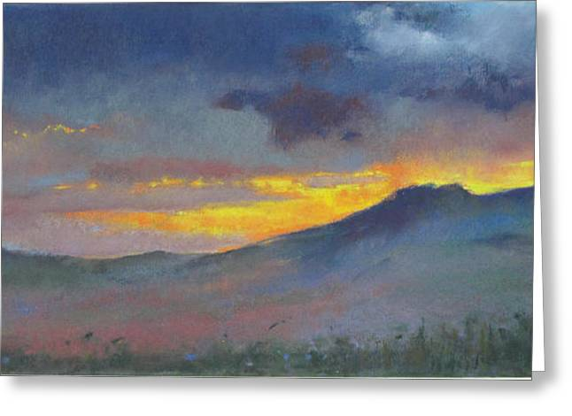 Amazing Sunset Paintings Greeting Cards - Last Dance of Daylight Greeting Card by Carol DeGregory