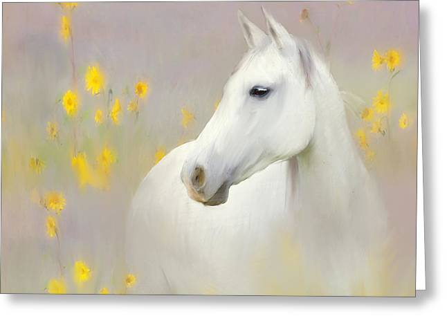 Quarter Horse Mixed Media Greeting Cards - Last Day Of Summer Greeting Card by Ozana Sturgeon