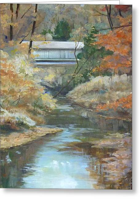 Covered Bridge Greeting Cards - Last Days of Fall Greeting Card by Denise Ivey Telep