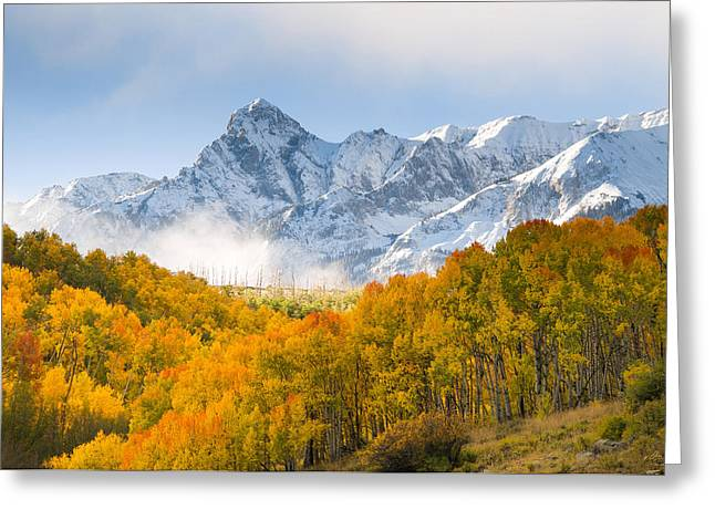 Snow-covered Landscape Photographs Greeting Cards - Last Dollar Road Morning Greeting Card by Aaron Spong