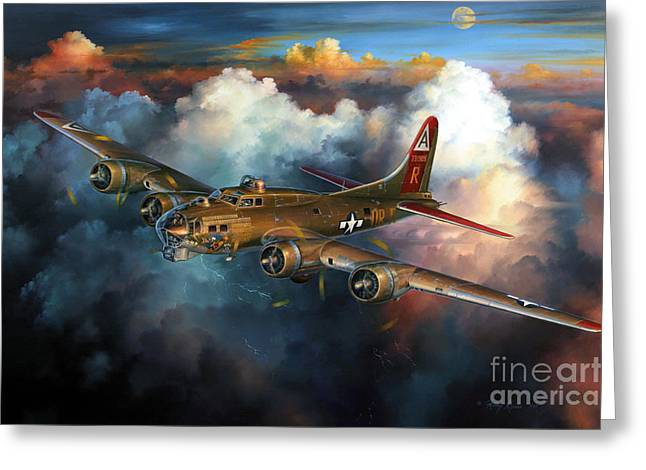 Fortress Greeting Cards - Last Flight For Nine-O-Nine Greeting Card by Randy Green