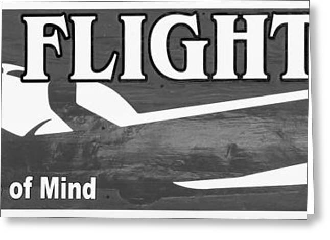 Liberal Greeting Cards - Last Flight Out a Key West State of Mind - Black and White - Pan Greeting Card by Ian Monk