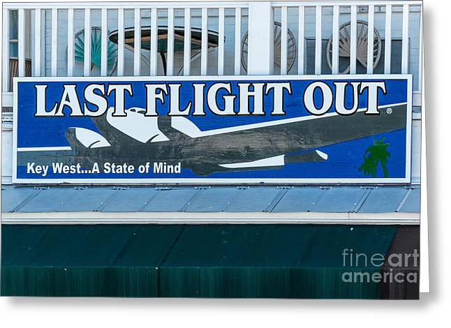 Liberal Greeting Cards - Last Flight Out a Key West State of Mind Greeting Card by Ian Monk