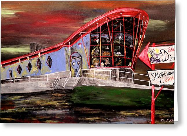 Peggy Sues Diner Paintings Greeting Cards - Last Friday Night Closed Greeting Card by Mark Moore