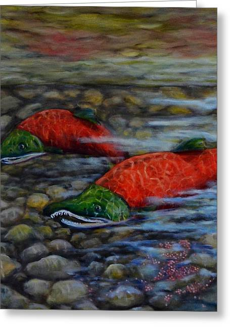 Sockeye Paintings Greeting Cards - Last Journey Greeting Card by Jennifer Kwon