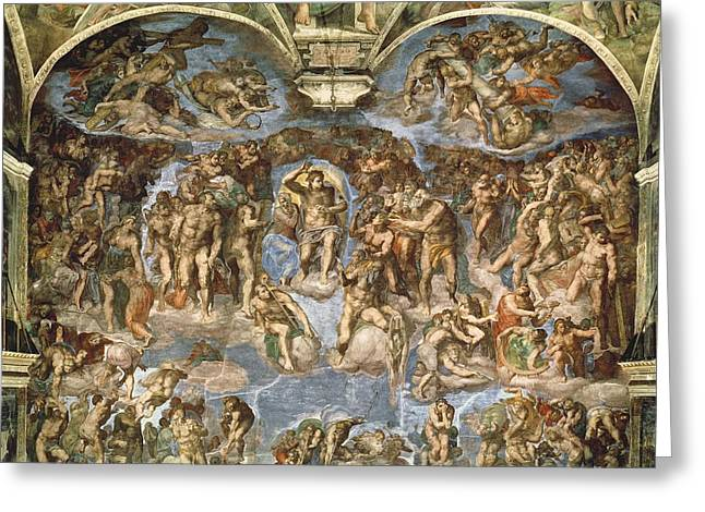 Sinner Greeting Cards - Last Judgement, From The Sistine Chapel, 1538-41 Fresco Greeting Card by Michelangelo Buonarroti