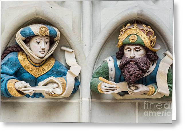 Medieval Entrance Greeting Cards - Last Judgement Sculptures - Minster - Bern Greeting Card by Gary Whitton