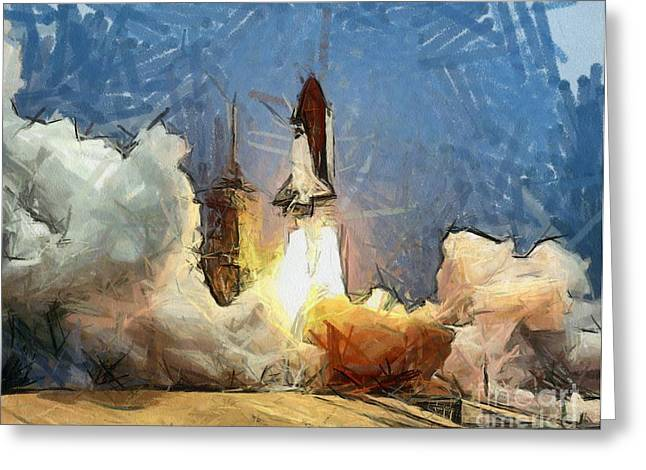 Space Shuttle Drawings Greeting Cards - Last Launch Greeting Card by Murphy Elliott