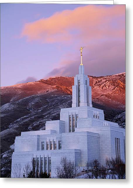 Evening Lights Greeting Cards - Last Light at Draper Temple Greeting Card by Chad Dutson