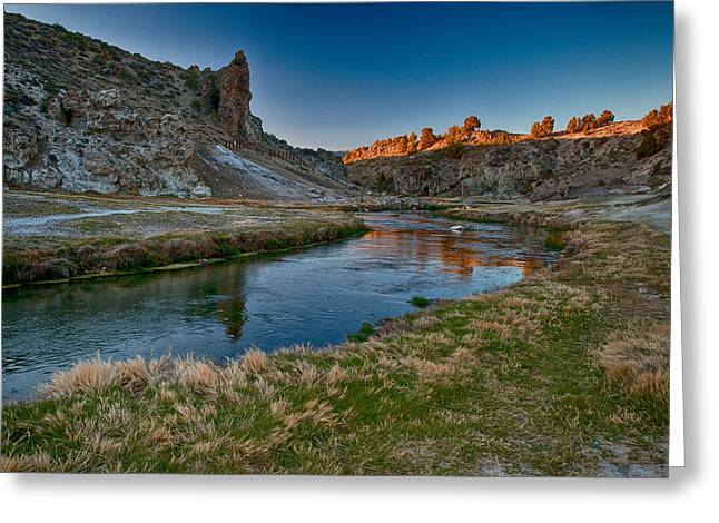 Geothermal Greeting Cards - Last Light at Hot Creek Greeting Card by Cat Connor