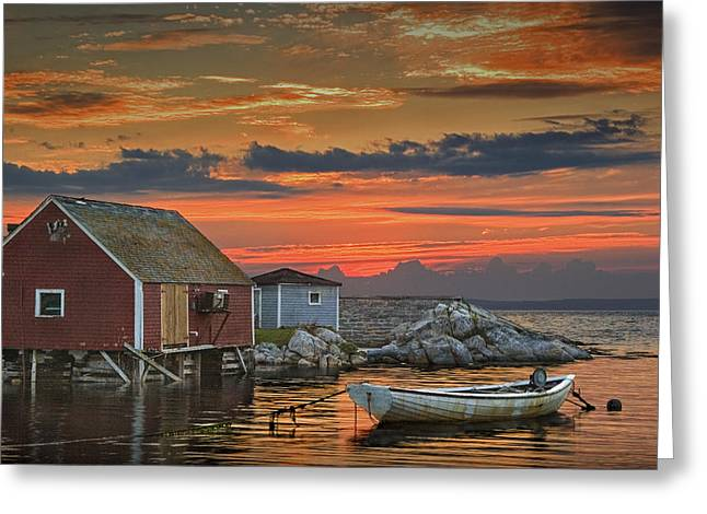 Atlantic Beaches Greeting Cards - Last Light at Peggys Cove in Nova Scotia Greeting Card by Randall Nyhof
