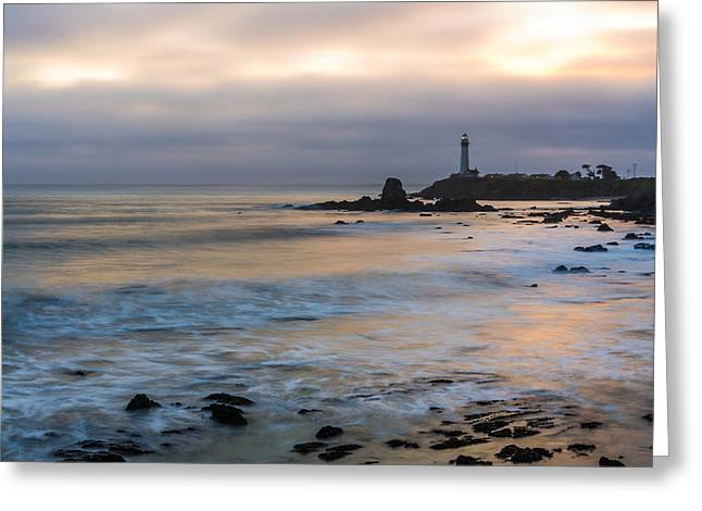Pigeon Point Light Station Greeting Cards - Last Light At Pigeon Point Lighthouse Greeting Card by Priya Ghose
