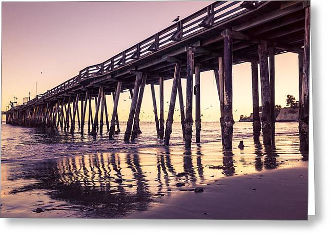 Santa Cruz Wharf Greeting Cards - Last Light At The Capitola Wharf Greeting Card by Priya Ghose
