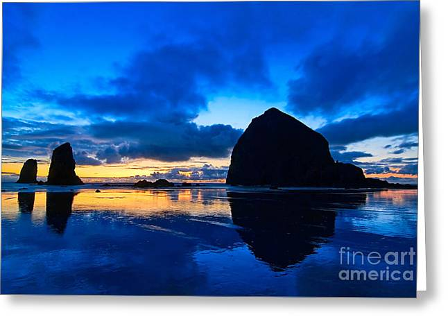Monolith Greeting Cards - Last Light - Cannon Beach Sunset with reflection in Oregon the Coast Greeting Card by Jamie Pham