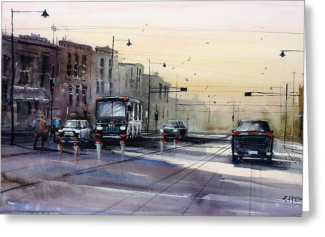 College Avenue Greeting Cards - Last Light - College Ave. Greeting Card by Ryan Radke