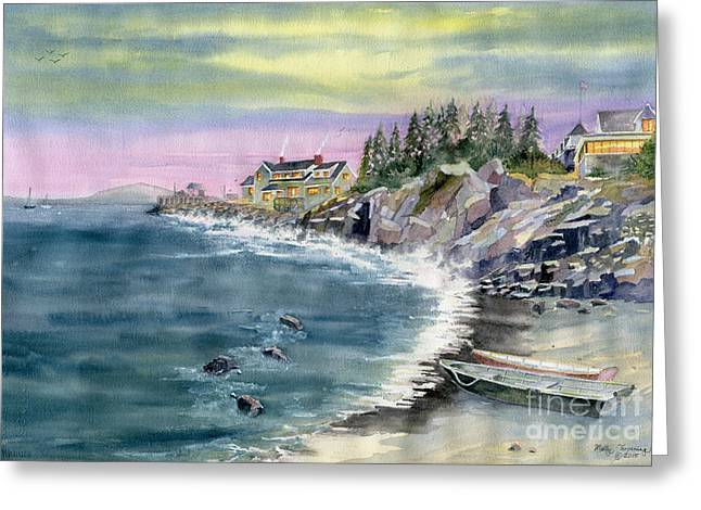 Maine Beach Greeting Cards - Last Light  Greeting Card by Melly Terpening