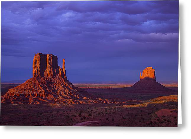 Navajo Tribal Park Greeting Cards - Last Light Monument Valley Greeting Card by Garry Gay