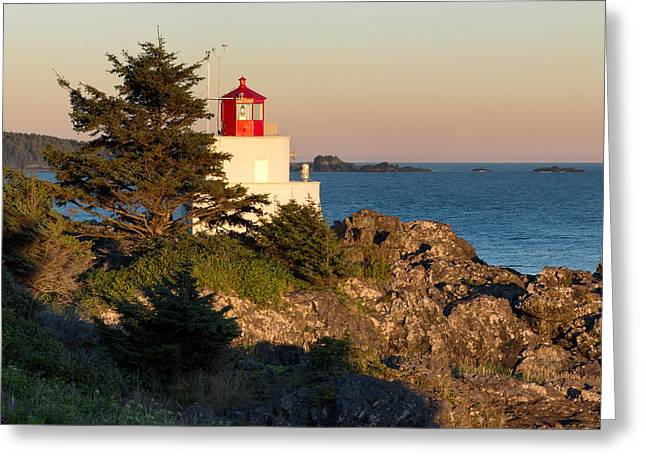 North Vancouver Digital Greeting Cards - Last Light on Amphritite Lighthouse Greeting Card by Kathleen Bishop