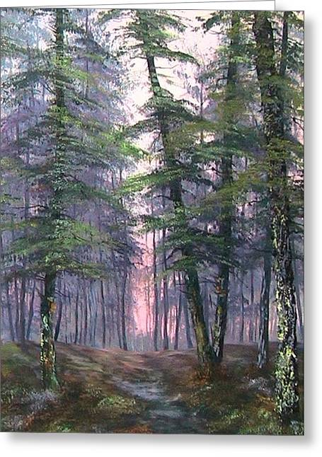 Sledge Training Greeting Cards - Last Light on Cannock Chase Greeting Card by Jean Walker