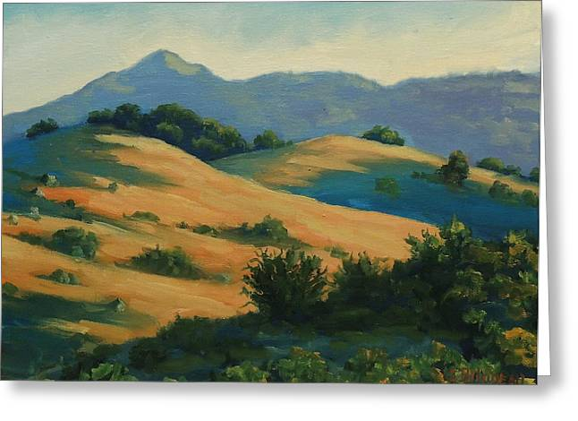 Recently Sold -  - Marin County Greeting Cards - Last Light On Mt. Tam Greeting Card by Steven Guy Bilodeau