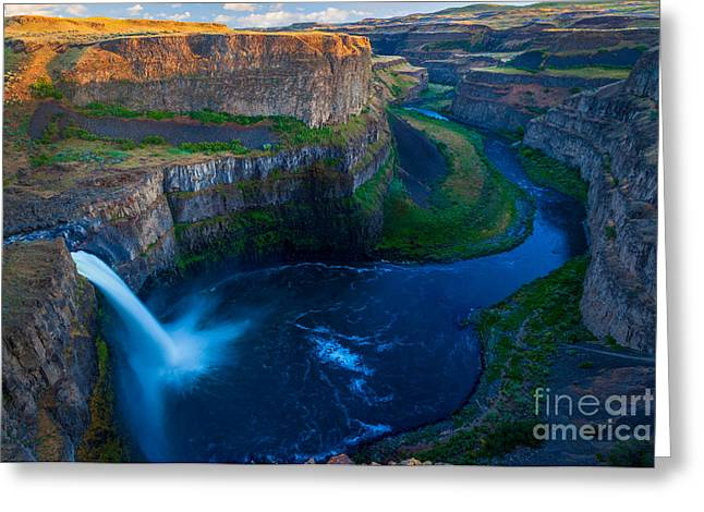 Flowing Greeting Cards - Last Light on Palouse Falls Greeting Card by Inge Johnsson