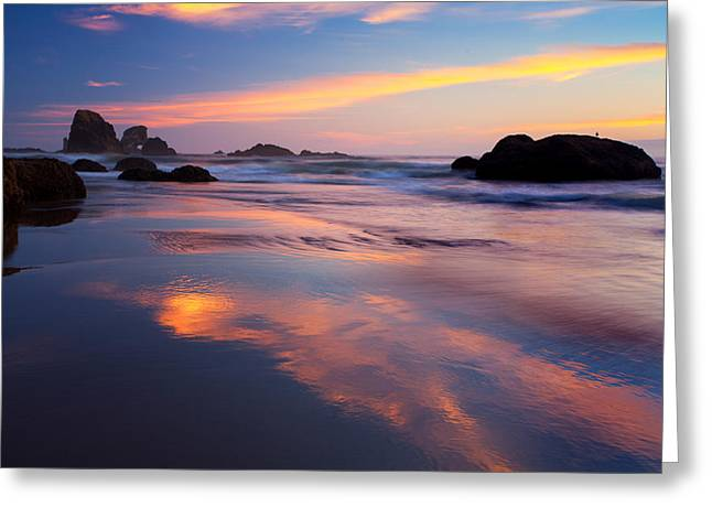 Subtle Colors Greeting Cards - Last light on the beach Greeting Card by Engin Tokaj