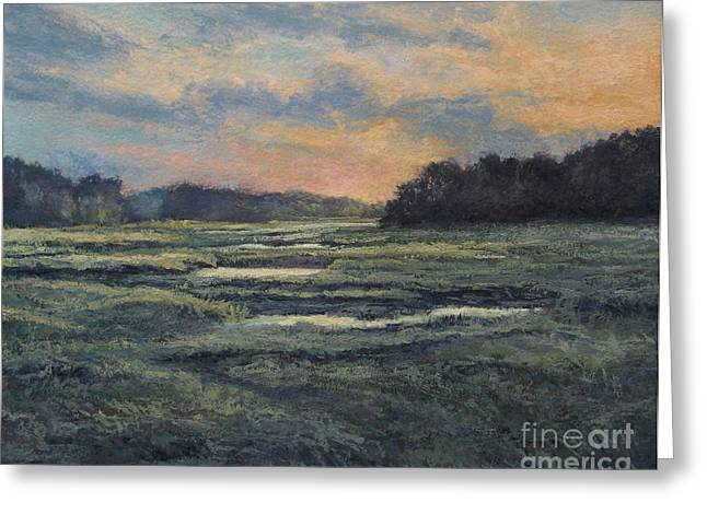 Last Light On The Marsh - Wellfleet Greeting Card by Gregory Arnett