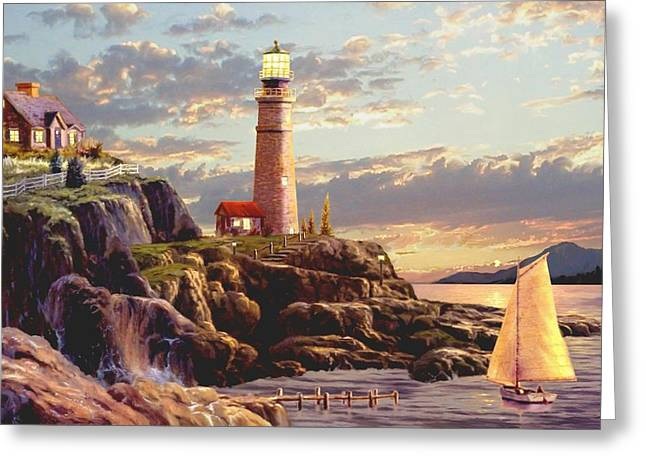 Nubble Lighthouse Paintings Greeting Cards - Last Light  Greeting Card by Ronald Chambers