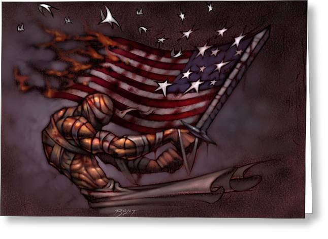 Fallen Soldiers Greeting Cards - Last Man Standing Greeting Card by David Bollt