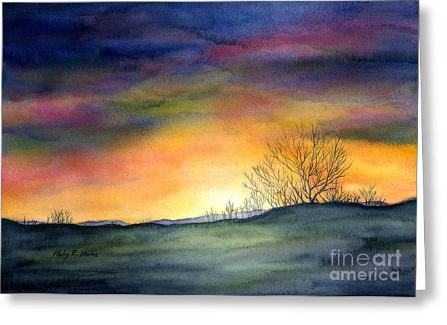 Colorful Sunset Greeting Cards Greeting Cards - Last Night Greeting Card by Hailey E Herrera