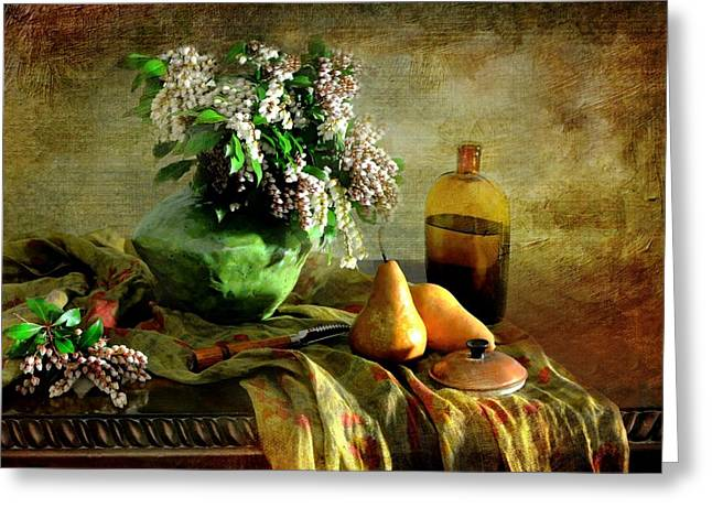 Vase Of Flowers Greeting Cards - Last of March Greeting Card by Diana Angstadt
