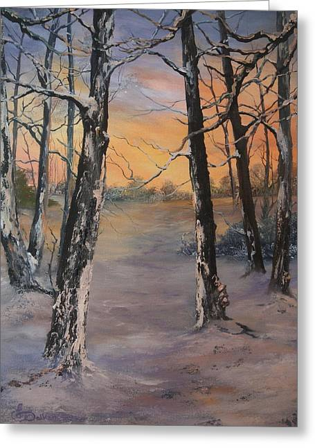 Sledge Training Greeting Cards - Last of the Sun Greeting Card by Jean Walker