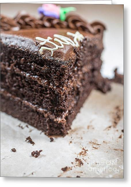 Crumbs Greeting Cards - Last Piece of Chocolate Cake Greeting Card by Edward Fielding