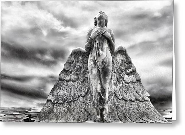 Angel Digital Greeting Cards - Last Prayer Greeting Card by Photodream Art